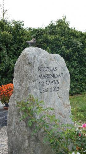 rocher bloc erratique naturel avec oiseau en bronze